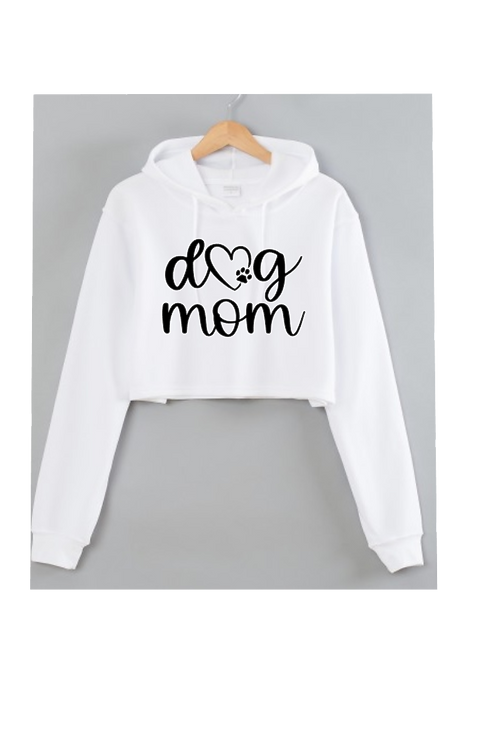 Dog MOM White Cropped hoodie