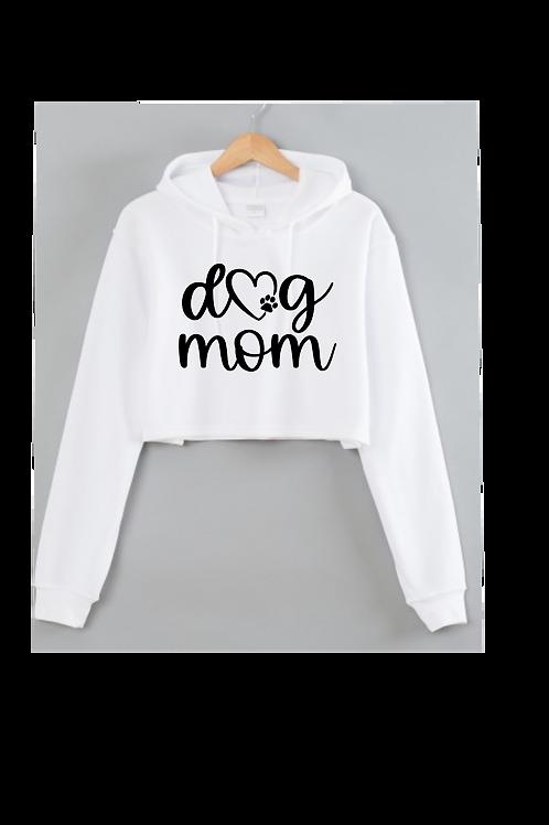 Dog MOM White Cropped hoodie