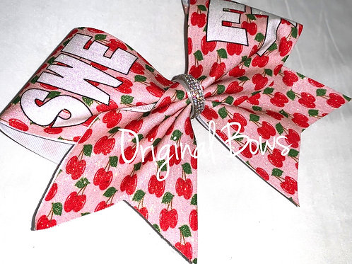 SWEET Cherries Glitter Cheer Bow