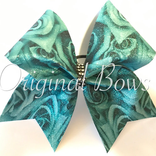 Teal Roses Glitter Cheer Bow