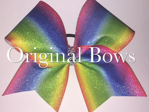 Rainbow Glitter Sparkle Cheer Bow