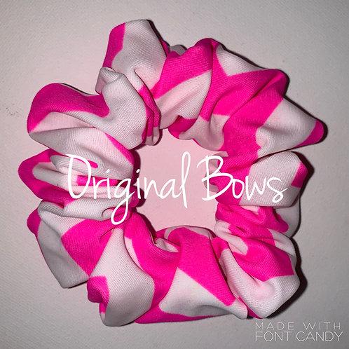 Pink and White Chevron Hair Scrunchie