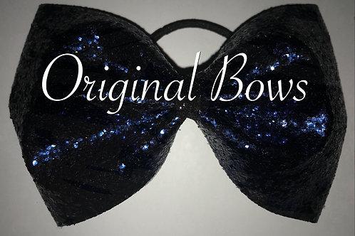 Dark Navy Blue tailless Glitter Cheer Bow