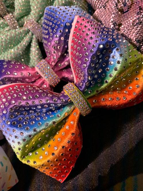 """Rainbow 4"""" Tailless Ombré Rhinestone Cheer Bow"""