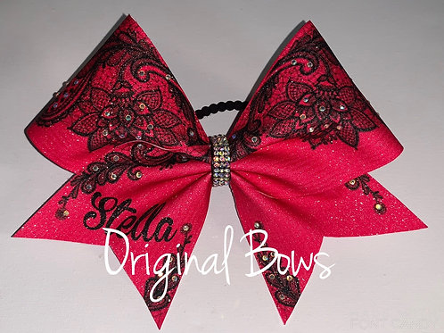 Faux lace monogrammed Glitter Cheer Bow
