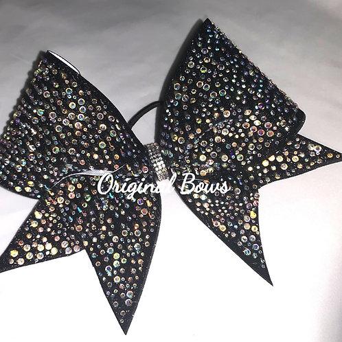 Black Rhinestone Glitter Cheer Bow