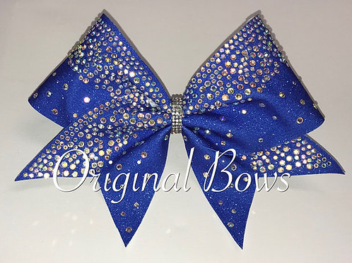 Royal Blue Rhinestone glitter Cheer Bow