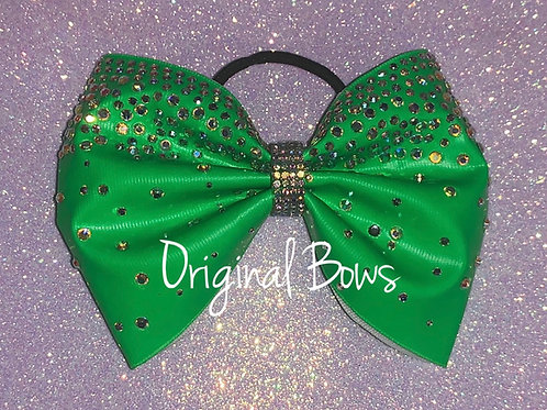 "NEON Green 4"" Tailless Rhinestone Cheer Bow"