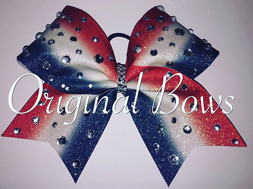 Red White & Blue Blinged Out Glitter Cheer Bow