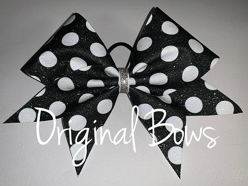 Black and White Polka dots glitter Cheer Bow