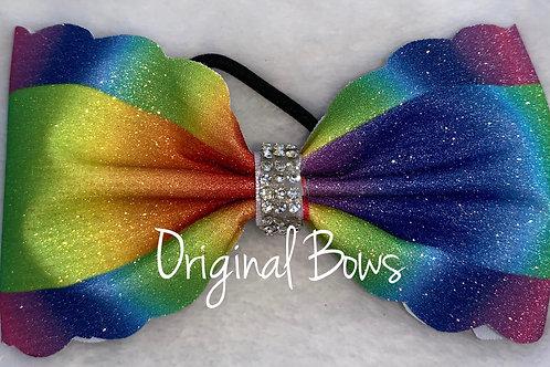 Rainbow Scalloped tailless glitter Bow