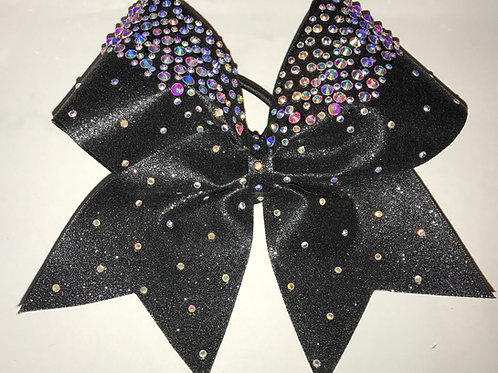Black Glitter Rhinestone Cheer Bow