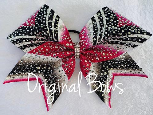Girl Power Hot Pink rhinestone Glitter Bow