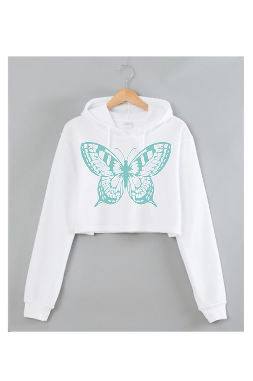 Butterfly White Cropped hoodie