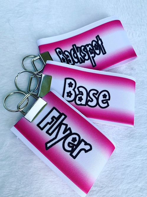 Pink Flyer Base Backspot cheer stunt group keychain set