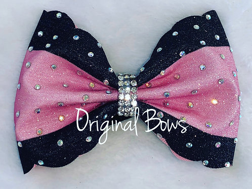 Tailless two tone black and pink Scalloped glitter Bow