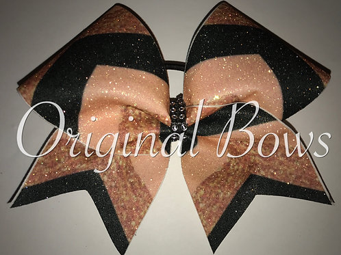 Chevron Black and Rose Gold Glitter Cheer Bow