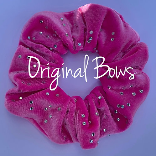 Bubble Gum PINK Velvet Rhinestone Hair Scrunchie