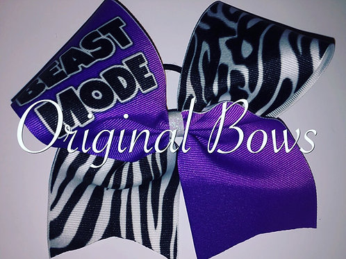 Beast Mode Purple Zebra Grosgrain Cheer Bow