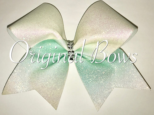 White Teal Ombre Glitter Cheer Bow