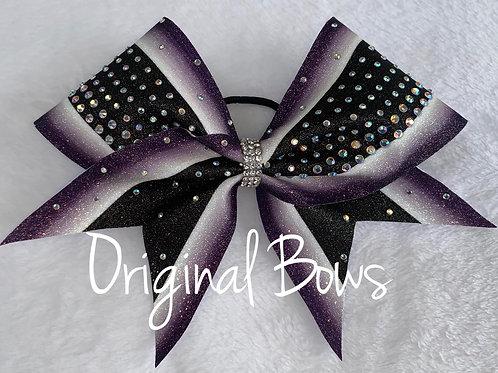 Purple Black and white Rhinestone Striped Glitter Bow