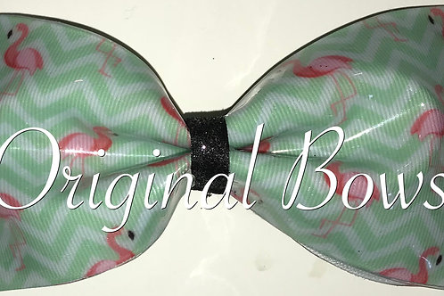 Flamingos on Teal Chevron Tailless H20 Swim Bows