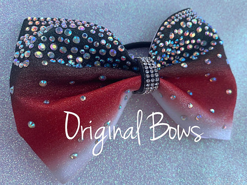Black Red White Ombre Glitter Rhinestone Tailless Bow