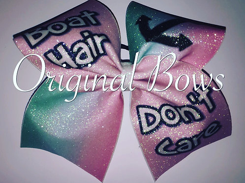 Boat Hair don't Care ombré pink teal Cheer Bow