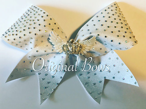 Limited Edition Clustered White Glitter rhinestone Queen Flyer Bow