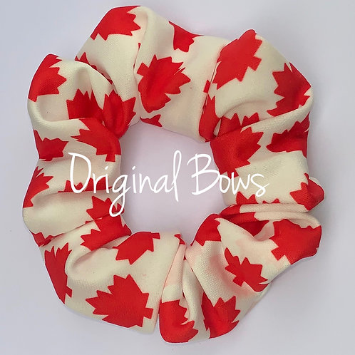 Red and White Maple Leaf Scrunchie