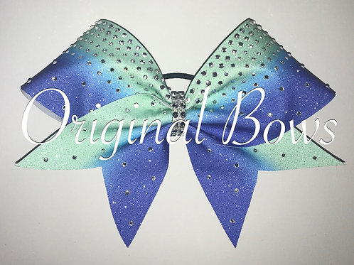 Royal blue and teal Ombre Glitter Rhinestone Bow