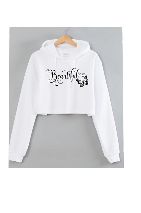 Beautiful White Cropped hoodie