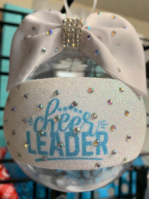 Cheerleader Blue Clear Rhinestone BALL Cheer Bow Christmas Ornament
