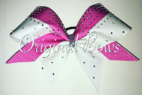Hot Pink and White Glitter gem Cheer Bow