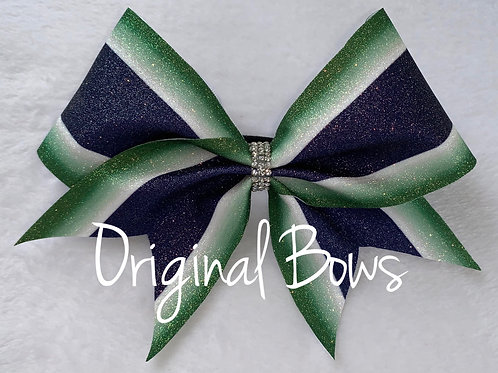 Green & Navy Blue Glitter Cheer Bow