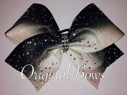 Black & White Ombre Rhinestone Glitter Cheer Bow