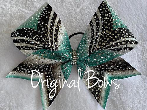 Girl Power Teal rhinestone Glitter Bow