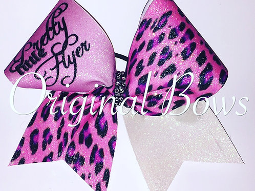 Pretty Little Flyer pink Leopard Glitter Cheer Dance Bow