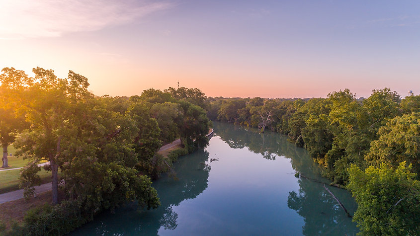Sunset over the Guadalupe River in Seguin, Texas