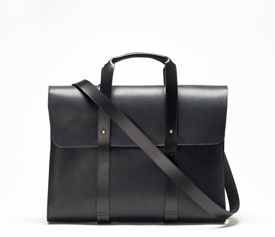 CHERCHBI Barrett Flap Brief in Black Oiled Leather front_strap