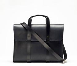 CHERCHBI Barrett Flap Brief in Black Oiled Leather front_strap
