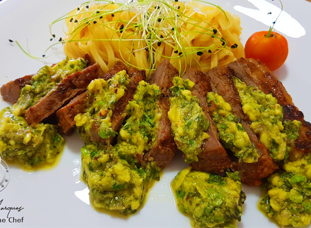 Eyeround Beef with Avocado Sauce