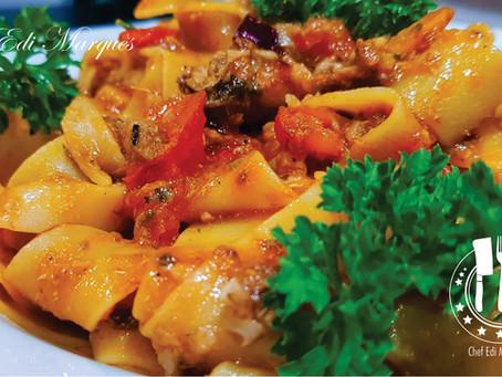 Pappardelle Crespe con Sarde in salsa di Pomodoro