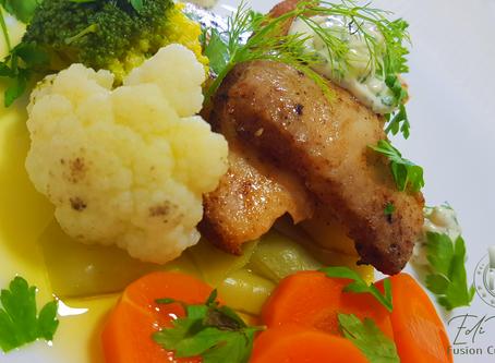 Abrotéa com Legumes Cozidos Salteados na Manteiga de Hortelã e aioli