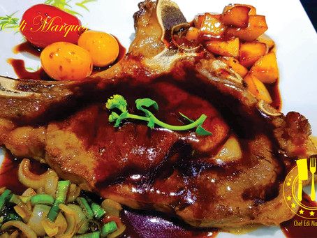 Rib Steak with Red Eye Sauce