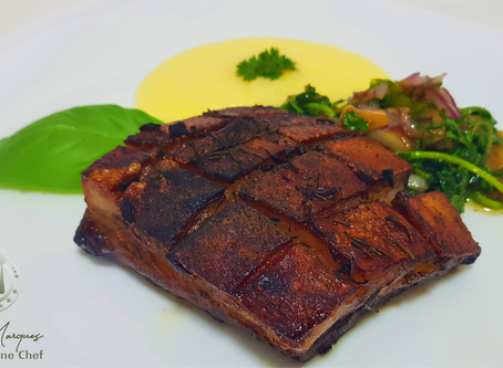 Pork Belly with Polenta and Vegetable Broiler