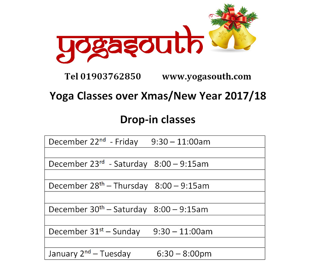Classes over Xmas /New Year 2017/18