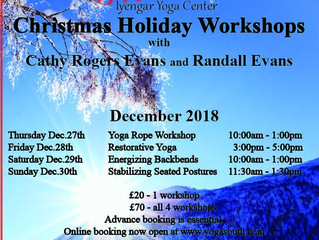 2018 Christmas Holiday Yoga.   Workshops December 27, 28, 29 & 30th.Booking open soon.