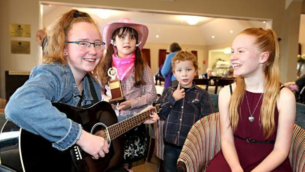 Young Southland musicians Holly Muirhead, 13, Shanna-Beth Smith, 7, Joshua Smith, 5, and Ava Thornley, 13,