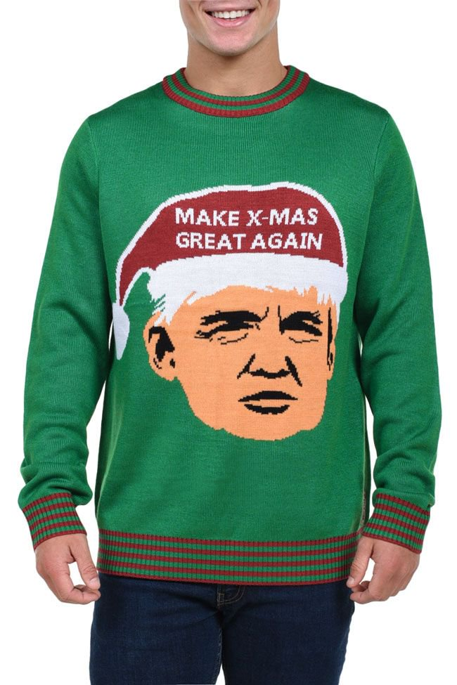 This Trump themed Christmas jumper kicks off out top 10. The text on this jumper is a play on the Presidents winning slogan 'Make America great again'.  You can be cool to Donald for just $39.00  https://www.tipsyelves.com/mens-make-xmas-great-again-trump-sweater